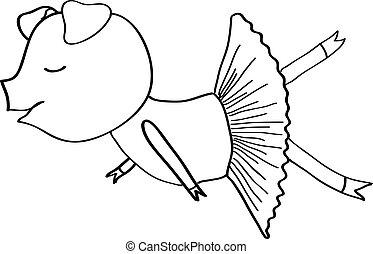 Cartoon pig ballet dancer coloring - Cartoon pig ballet...