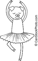 Cartoon pig ballet dancer coloring