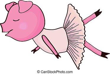Cartoon pig ballet dancer