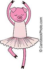 Cartoon pig ballet dancer isolated vector illustration