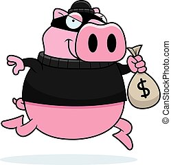 Cartoon Pig Burglar