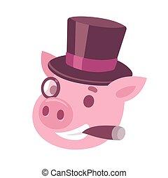 Cartoon pig capitalist