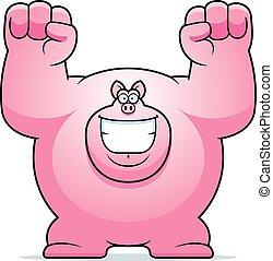 Cartoon Pig Celebrating