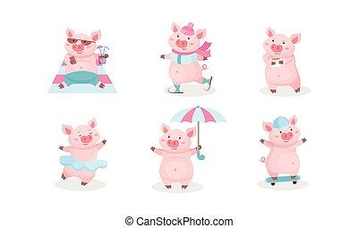 Cartoon Pig Character Vector Set. Piggie Lying on Beach Drinking Cocktail