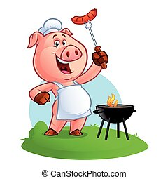 cartoon pig chef - Pig chef holding a sausage on fork