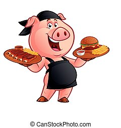 cartoon pig chef
