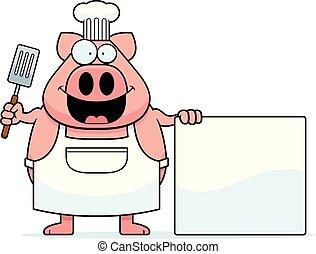 Cartoon Pig Chef Sign