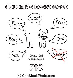 Cartoon Pig Coloring Book - Funny pig kids learning game....