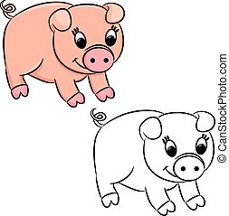 Cartoon pig. Coloring book. Vector