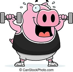 Cartoon Pig Dumbbells
