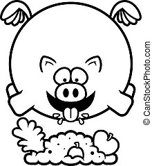 Cartoon Pig Eating - A cartoon illustration of a pig eating.