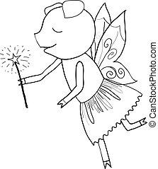 Cartoon pig fairy tale coloring - Cartoon pig fairy tale...