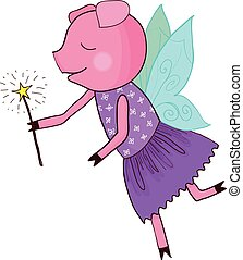 Cartoon pig fairy tale