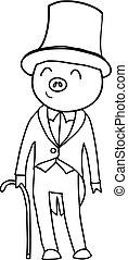 Cartoon pig gentleman coloring - Cartoon pig gentleman...