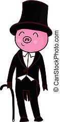 Cartoon pig gentleman isolated vector illustration