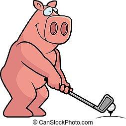 A cartoon illustration of a pig playing golf.