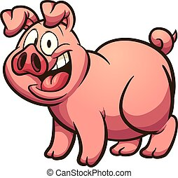 Cartoon pig - Happy cartoon pig with big smile. Vector clip...