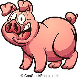 Cartoon pig - Happy cartoon pig with big smile. Vector clip...
