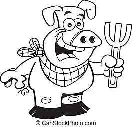 Cartoon pig holding a fork - Black and white illustration of...