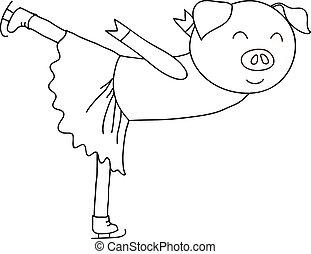 Cartoon pig ice skater coloring