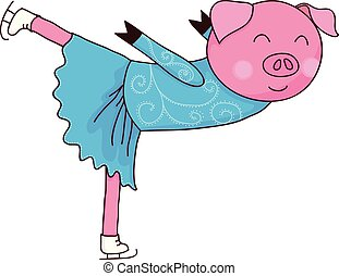 Cartoon pig ice skater isolated vector illustration