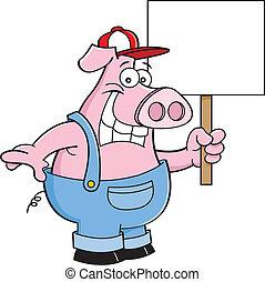 Cartoon Pig in Overalls Holding a S - Cartoon illustration...