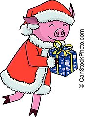 Cartoon pig in santa clothes with gifts - Cartoon pig with...