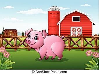 Cartoon pig in the farm background