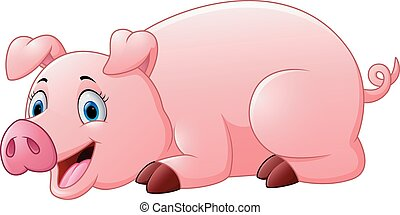 cartoon pig lay down - vector illustration of cartoon pig...