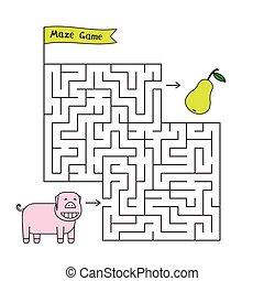 Cartoon Pig Maze Game