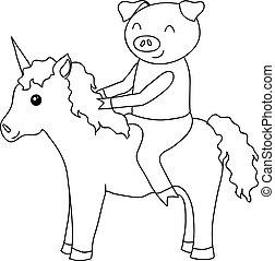Cartoon pig on unicorn coloring - Cartoon pig on unicorn...