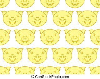 Cartoon pig pattern - Seamless pattern of the cartoon...