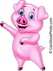 Cartoon pig pointing isolated on white background