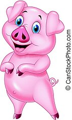 Cartoon pig posing isolated on white background - Vector...