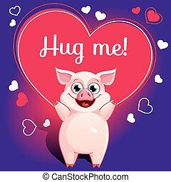 Cartoon pig ready for a hugging