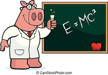 Cartoon Pig Scientist