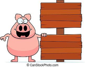 Cartoon Pig Sign
