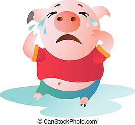 Cartoon Pig sits in a pool of tears and cries.
