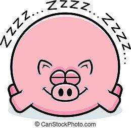 Cartoon Pig Sleeping