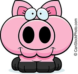 Cartoon Pig Smiling - A cartoon illustration of a little pig...