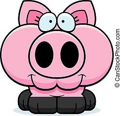 Cartoon Pig Smiling - A cartoon illustration of a little pig...
