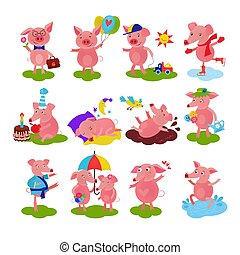 Cartoon pig vector piglet or piggy character on birthday and pink piggy-wiggy playing in puddle illustration piggish set of piggery couple and pigling baby isolated on white background