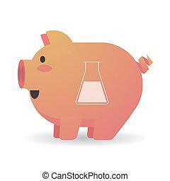 Cartoon pig with a chemical test tube
