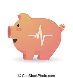 Cartoon pig with a heart beat