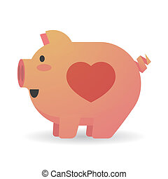 Cartoon pig with a heart