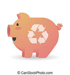 Cartoon pig with a recycle sign