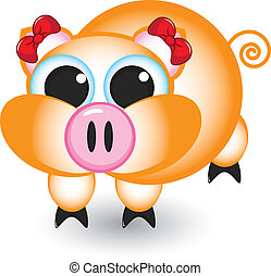 Cartoon pig with bows. Illustration on white background