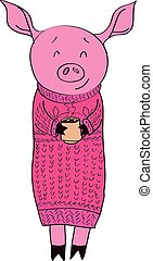Cartoon pig with cocoa isolated vector illustration