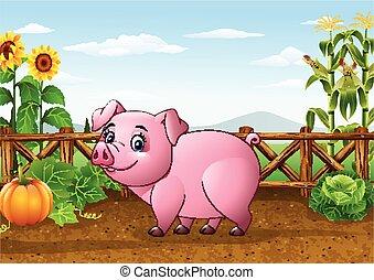 Cartoon pig with farm background