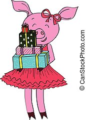 Cartoon pig with gifts isolated vector illustration